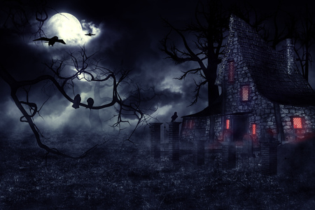 spooky: Dark mysterious halloween landscape with an old house. Stock Photo