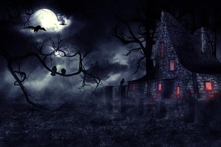 muerte: Oscuro misterioso paisaje de halloween con una casa antigua.