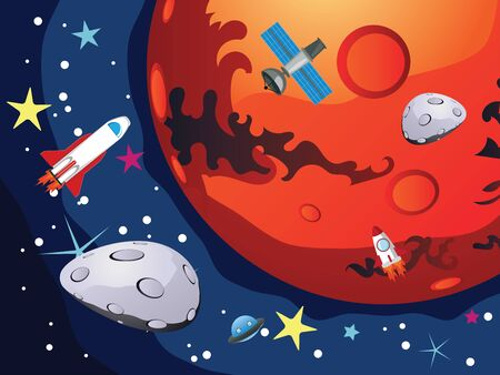 shuttles: Red planet Mars in the space with stars and shuttles.