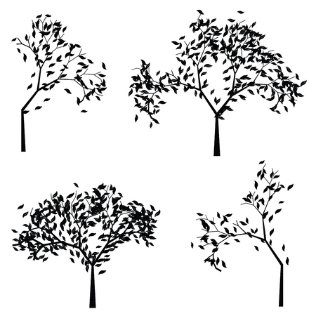 genealogical: Black silhouettes of simple trees with stylized leaves.