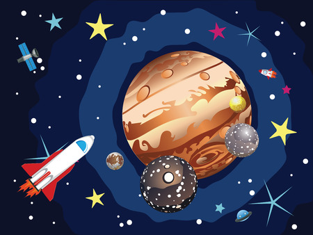 shuttles: Cartoon planet Jupiter in the space with stars and shuttles.