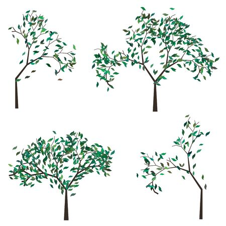 branches with leaves: Abstract cartoon tree with stylized green leaves.