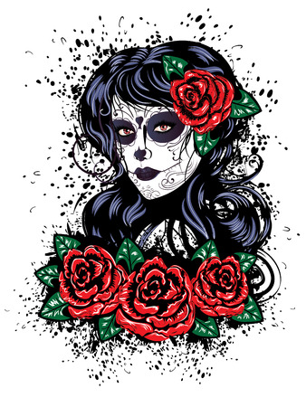tattoo girl: Vintage sugar skull girl with roses for Day of the Dead (Dia de los Muertos).