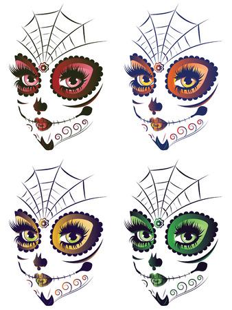 azucar: Az�car cara de la muchacha del cr�neo con maquillaje para el d�a de los muertos (D�a de los Muertos).