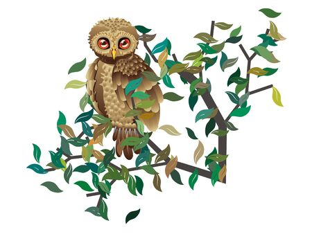 restyled: Cute brown owl sits on abstract tree branch with green leaves. Illustration