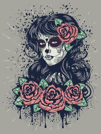 Vintage suiker schedel meisje met rozen voor de Dag van de Doden (Dia de los Muertos). Stock Illustratie