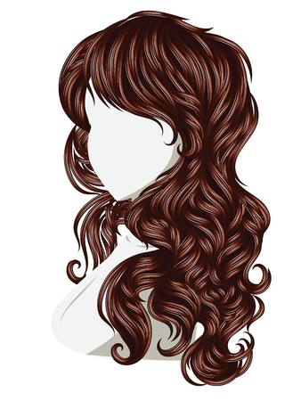 coiffure: Long female curly hair style, fashion illustration. Illustration