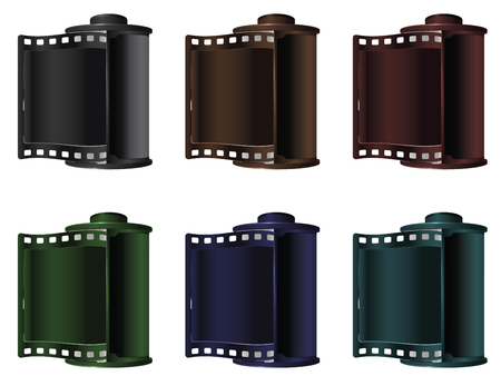 35mm: Set of colorful vintage reels of 35mm photo film on white background.