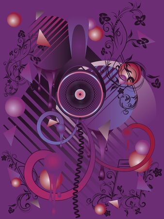 abstract music: Colorful stylized music poster design with abstract headphones and geometric elements.