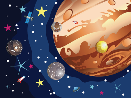 io: Cartoon planet Jupiter in the space with stars and shuttles.
