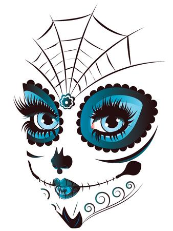 calaveras: Azúcar cara de la muchacha del cráneo con maquillaje para el día de los muertos (Día de los Muertos).