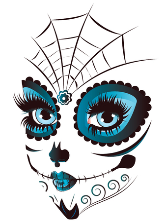 girl: Sugar skull girl face with make up for Day of the Dead (Dia de los Muertos).