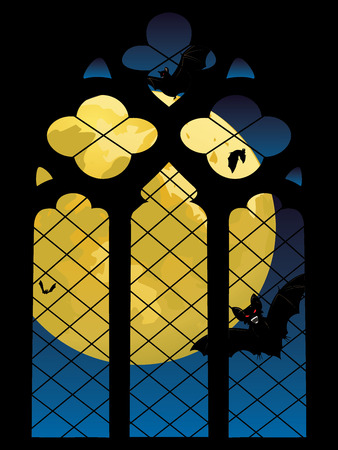 old window: Old decorative gothic window and big yellow moon.