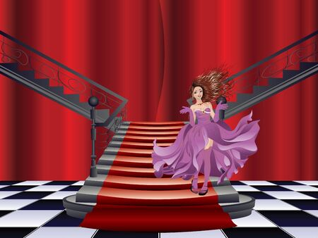 woman stairs: Fashion woman stands at the stairs with red carpet.