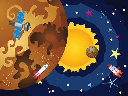 venus: Cartoon space background with the Venus and stars. Illustration