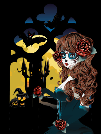 gothic window: Vampire or witch near old gothic window with big yellow moon.