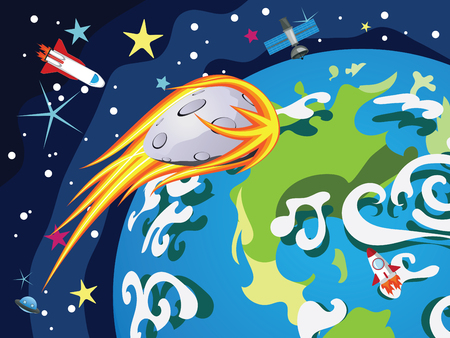 open space: Cartoon planet Earth in open space with satellites.