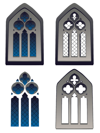 old window: Abstract old decorative gothic window with grid. Illustration