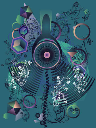 Colorful stylized music poster design with abstract headphones and geometric elements.