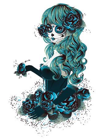 menina: Menina do vintage do crânio do açúcar com rosas para o dia dos mortos (Dia de los Muertos). Ilustração