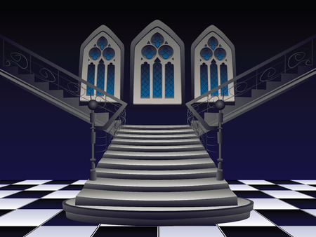 stairs interior: Vintage gothic room interior with old stairs.