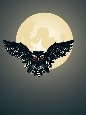 moon  owl  silhouette: Night owl silhouette and big moon in the sky. Illustration