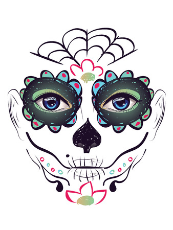 dia de muerto: Azúcar cara de la muchacha del cráneo con maquillaje para el día de los muertos (Día de los Muertos).