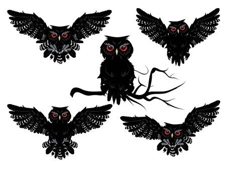 red eyes: Cartoon black owl with red eyes, detailed silhouette. Illustration