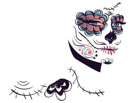 dia de muertos: Az�car cara de la muchacha del cr�neo con maquillaje para el d�a de los muertos (D�a de los Muertos).