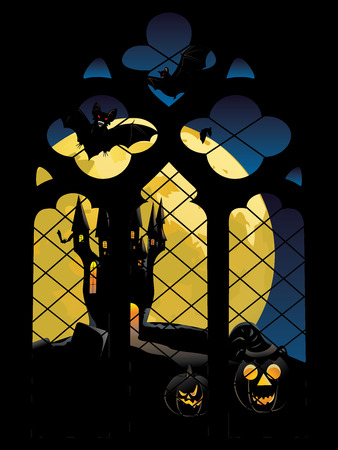 gothic window: Old decorative gothic window and big yellow moon.