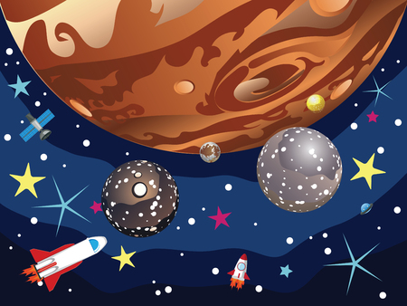 layered sphere: Cartoon planet Jupiter in the space with stars and shuttles.