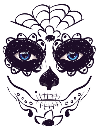 blue eyes girl: Sugar skull girl face with make up for Day of the Dead (Dia de los Muertos).