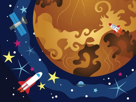 venus: Cartoon space background with the Venus and stars. Illustration
