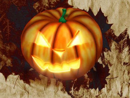cucurbit: Spooky Jack O Lantern Halloween pumpkin with candle light inside.