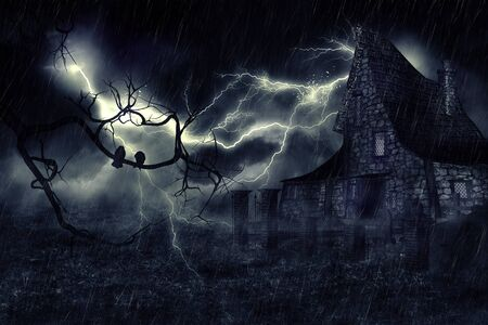Dark mysterious halloween landscape with an old house. Stockfoto