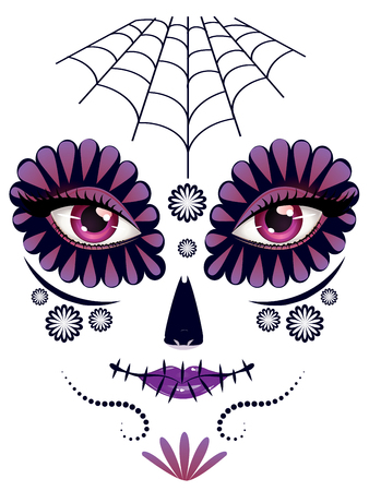 white sugar: Sugar skull girl face with make up for Day of the Dead (Dia de los Muertos).