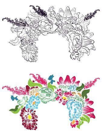 Couronne colorée décorative de fleur, guirlande, floral illustration.