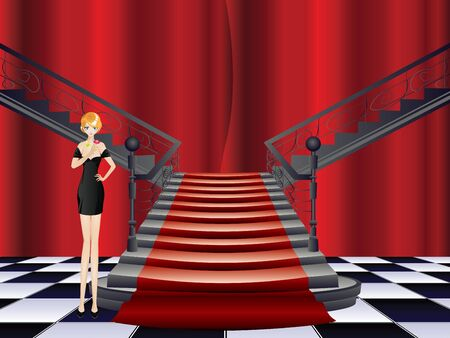 formal party: Fashion woman stands at the stairs with red carpet.