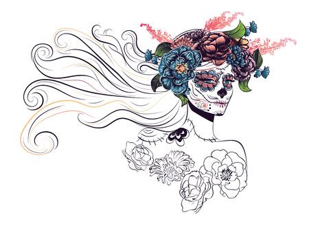 mujer con rosas: D�a de los Muertos ilustraci�n con la muchacha del cr�neo del az�car en decorativo corona de flores.