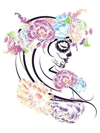 skull and bones: Day of the Dead illustration with sugar skull girl in decorative flower wreath.