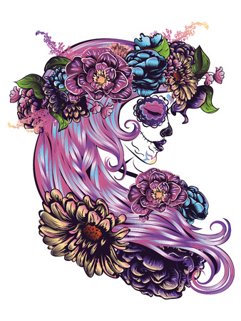 Day of the Dead illustration with sugar skull girl in decorative flower wreath.