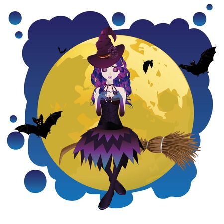 ghostly: Halloween witch flying on a broomstick over yellow full moon. Illustration