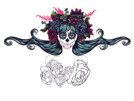 red head girl: Day of the Dead illustration with sugar skull girl in decorative flower wreath.