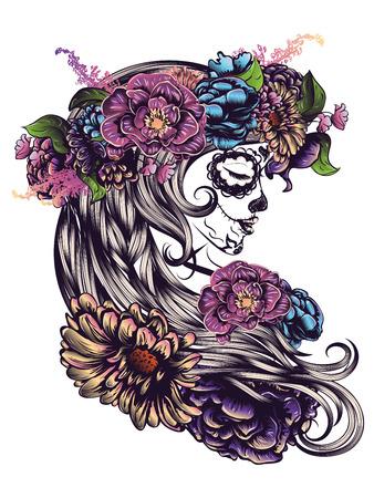mujer con rosas: Día de los Muertos ilustración con la muchacha del cráneo del azúcar en decorativo corona de flores.