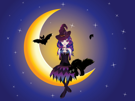 Cute halloween witch with black cat on the crescent moon. Illustration