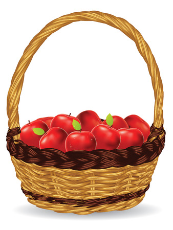 basket: Fresh red apples in a basket on white background.