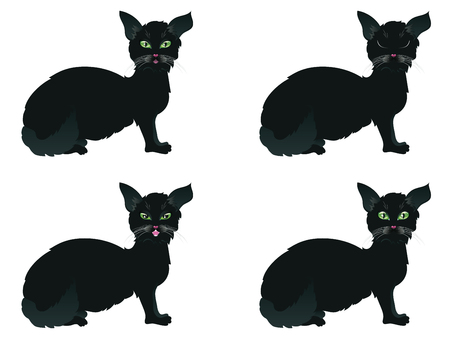 pussy cat: Cute cartoon black cat with stylized green eyes. Stock Photo