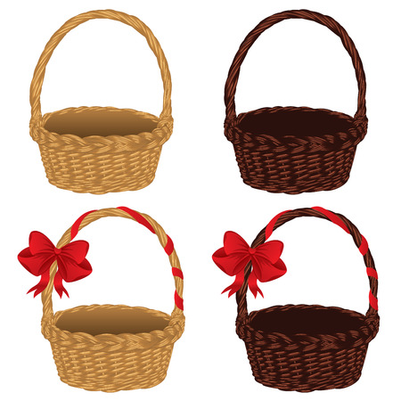 bast basket: Set of different empty baskets on white background. Stock Photo