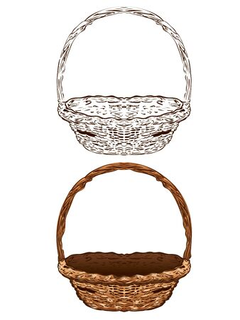 Illustration of brown wicker basket on white background.