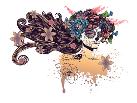 skull design: Day of the Dead illustration with sugar skull girl in decorative flower wreath.